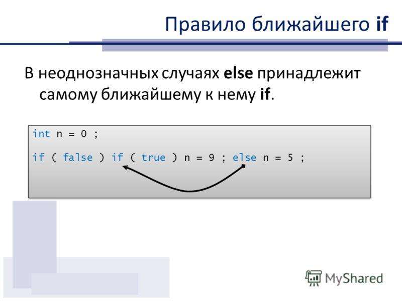 Правило ближайшего if В неоднозначных случаях else принадлежит самому ближайшему к нему if. int n = 0 ; if ( false ) if ( true ) n = 9 ; else n = 5 ; int n = 0 ; if ( false ) if ( true ) n = 9 ; else n = 5 ;