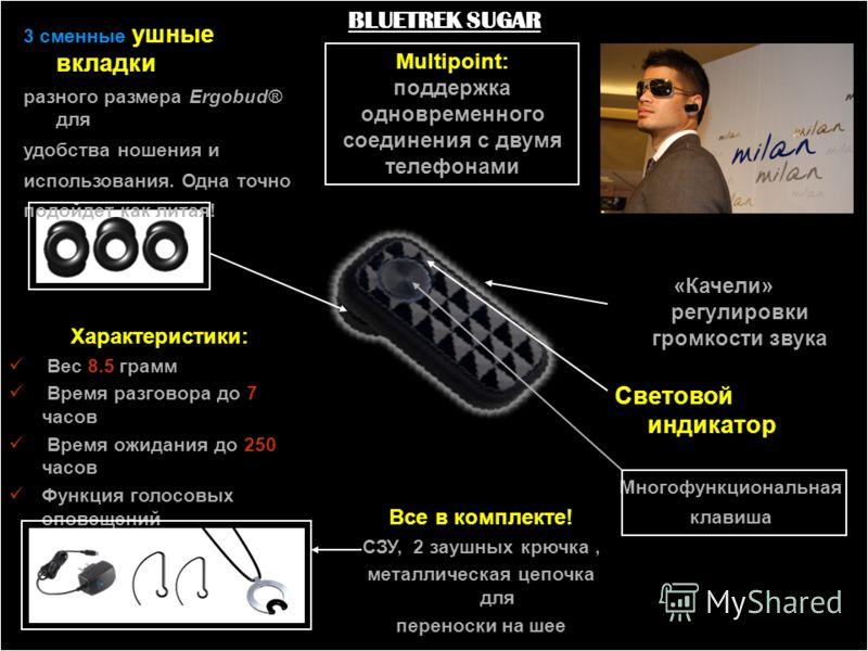 BLUETREK SUGAR 3 сменные ушные вкладки разного размера Ergobud® для удобства ношения и использования. Одна точно подойдет как литая! Характеристики: Вес 8.5 грамм Время разговора до 7 часов Время ожидания до 250 часов Функция голосовых оповещений Все