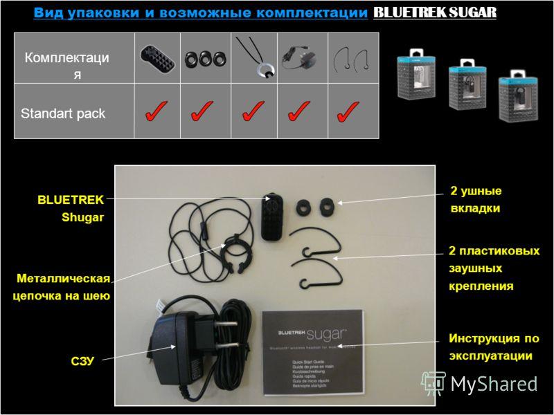 Вид упаковки и возможные комплектации BLUETREK SUGAR СЗУ 2 пластиковых заушных крепления 2 ушные вкладки Инструкция по эксплуатации Металлическая цепочка на шею BLUETREK Shugar Standart pack Комплектаци я