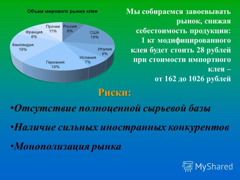 Мы собираемся завоевывать рынок, снижая себестоимость продукции: 1 кг модифицированного клея будет стоить 28 рублей при стоимости импортного клея – от 162 до 1026 рублей Риски: Отсутствие полноценной сырьевой базы Наличие сильных иностранных конкурен