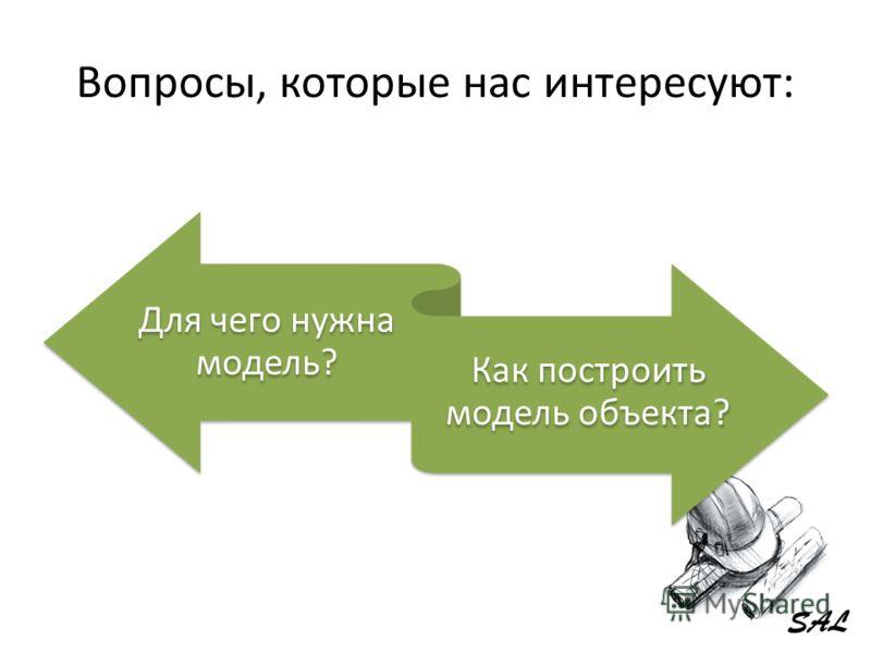 Вопросы, которые нас интересуют: Для чего нужна модель? Как построить модель объекта?