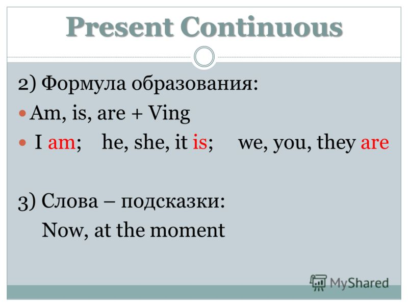 Present Continuous 2) Формула образования: Am, is, are + Ving I am; he, she, it is; we, you, they are 3) Слова – подсказки: Now, at the moment