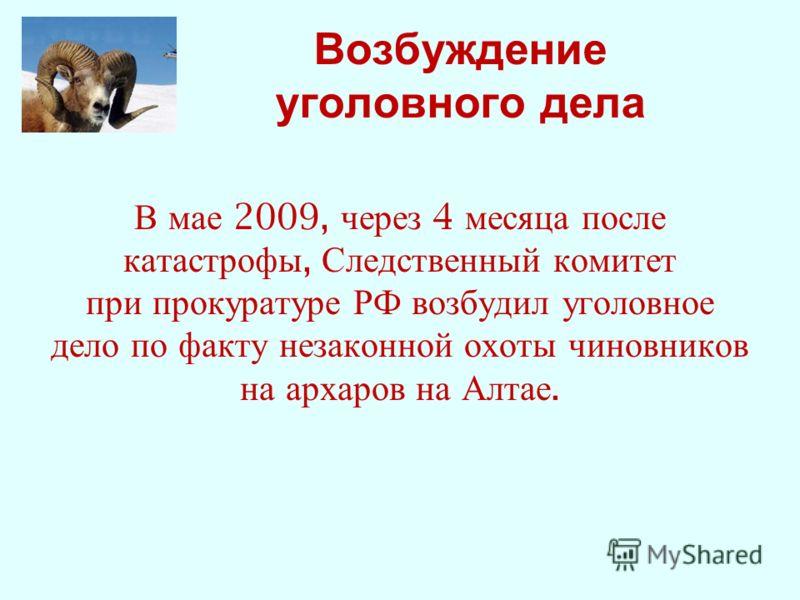 Возбуждение уголовного дела В мае 2009, через 4 месяца после катастрофы, Следственный комитет при прокуратуре РФ возбудил уголовное дело по факту незаконной охоты чиновников на архаров на Алтае.
