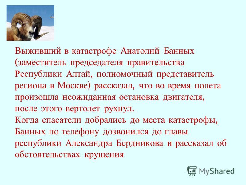 Выживший в катастрофе Анатолий Банных ( заместитель председателя правительства Республики Алтай, полномочный представитель региона в Москве ) рассказал, что во время полета произошла неожиданная остановка двигателя, после этого вертолет рухнул. Когда