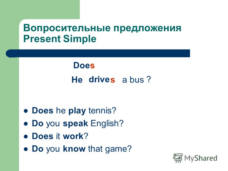 Вопросительные предложения Present Simple Does he play tennis? Do you speak English? Does it work? Do you know that game? Does drive Hea buss ?