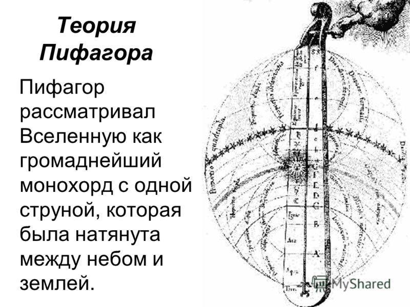 Теория Пифагора Пифагор рассматривал Вселенную как громаднейший монохорд с одной струной, которая была натянута между небом и землей.