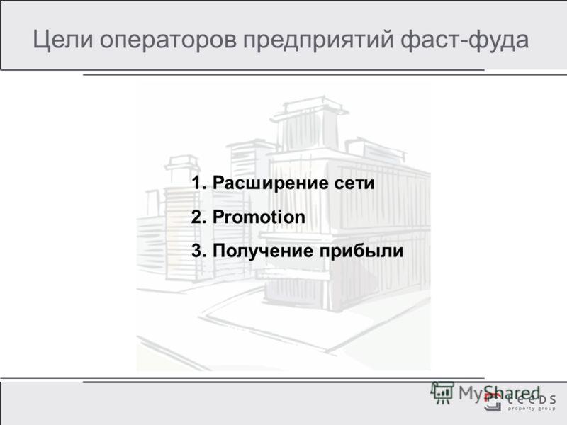 Цели операторов предприятий фаст-фуда 1.Расширение сети 2.Promotion 3.Получение прибыли