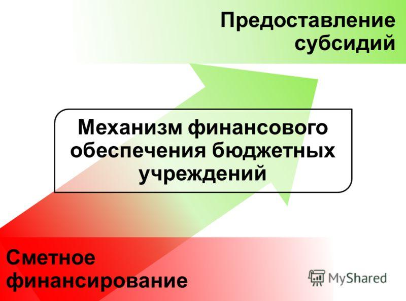 Сметное финансирование Предоставление субсидий Механизм финансового обеспечения бюджетных учреждений