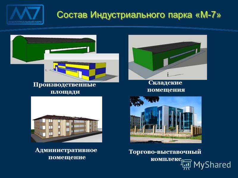 Состав Индустриального парка «М-7» Производственные площади Складские помещения Торгово-выставочный комплекс Административное помещение
