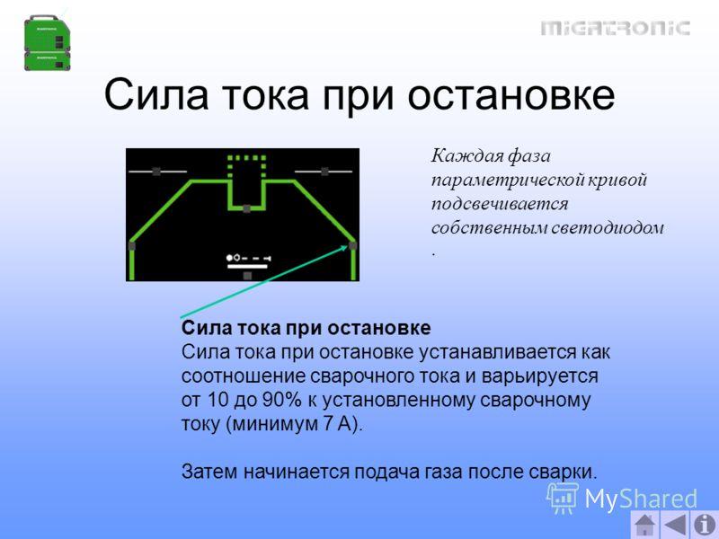 Сила тока при остановке Сила тока при остановке устанавливается как соотношение сварочного тока и варьируется от 10 до 90% к установленному сварочному току (минимум 7 A). Затем начинается подача газа после сварки. Каждая фаза параметрической кривой п