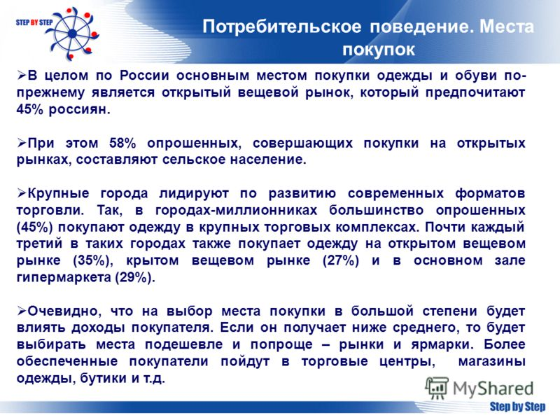 Потребительское поведение. Места покупок В целом по России основным местом покупки одежды и обуви по- прежнему является открытый вещевой рынок, который предпочитают 45% россиян. При этом 58% опрошенных, совершающих покупки на открытых рынках, составл