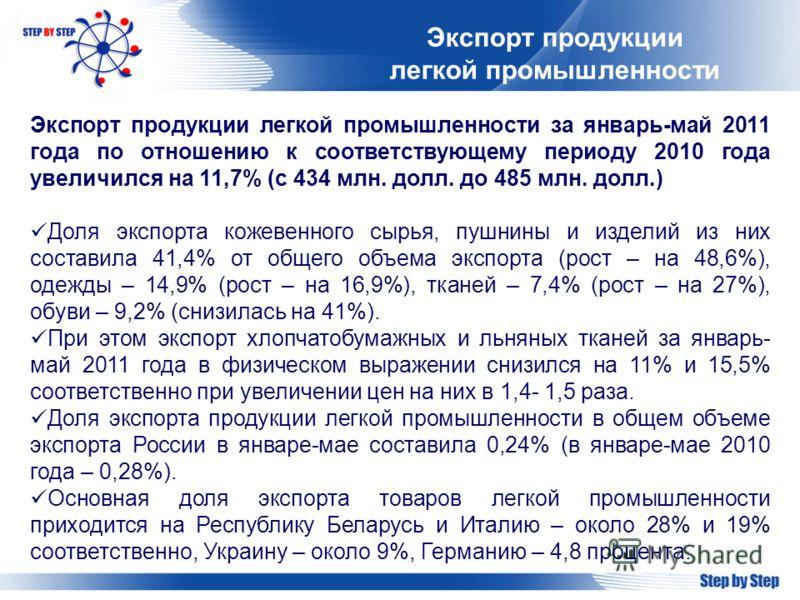 Экспорт продукции легкой промышленности Экспорт продукции легкой промышленности за январь-май 2011 года по отношению к соответствующему периоду 2010 года увеличился на 11,7% (с 434 млн. долл. до 485 млн. долл.) Доля экспорта кожевенного сырья, пушнин