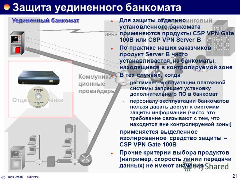 21 Защита уединенного банкомата Уединенный банкомат Для защиты отдельно установленного банкомата применяются продукты CSP VPN Gate 100B или CSP VPN Server B По практике наших заказчиков продукт Server B часто устанавливается на банкоматы, находящиеся