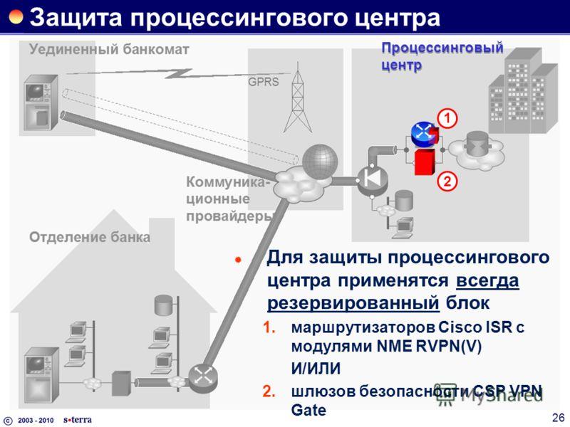 26 Защита процессингового центра 2 1 Процессинговый центр Для защиты процессингового центра применятся всегда резервированный блок 1.маршрутизаторов Cisco ISR с модулями NME RVPN(V) И/ИЛИ 2.шлюзов безопасности CSP VPN Gate