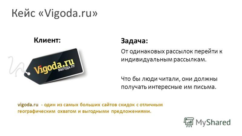 Кейс «Vigoda.ru» Клиент: Задача: От одинаковых рассылок перейти к индивидуальным рассылкам. Что бы люди читали, они должны получать интересные им письма. vigoda.ru - один из самых больших сайтов скидок с отличным географическим охватом и выгодными пр
