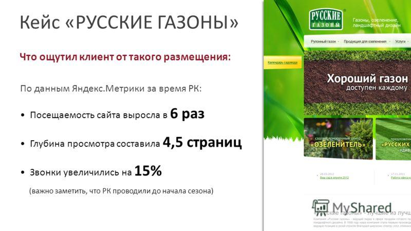Кейс «РУССКИЕ ГАЗОНЫ» Что ощутил клиент от такого размещения: По данным Яндекс.Метрики за время РК: Посещаемость сайта выросла в 6 раз Глубина просмотра составила 4,5 страниц Звонки увеличились на 15% (важно заметить, что РК проводили до начала сезон
