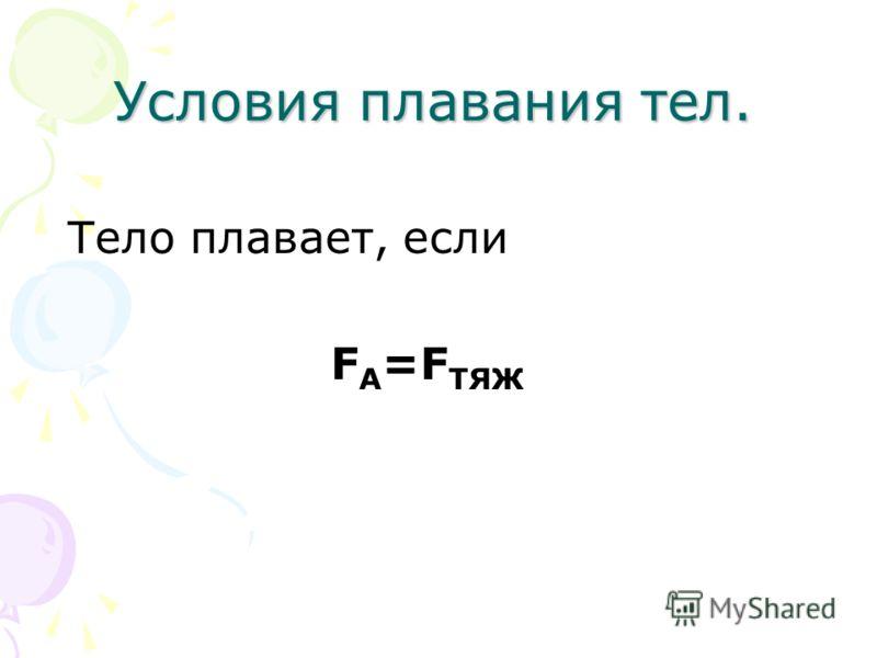 Тело плавает, если F А =F ТЯЖ Условия плавания тел.