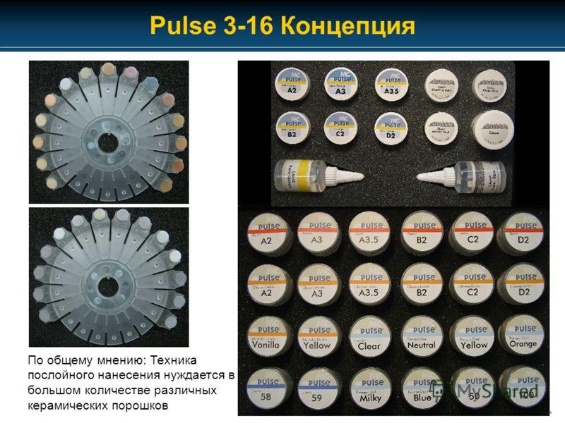 Pulse 3-16 Концепция По общему мнению: Техника послойного нанесения нуждается в большом количестве различных керамических порошков