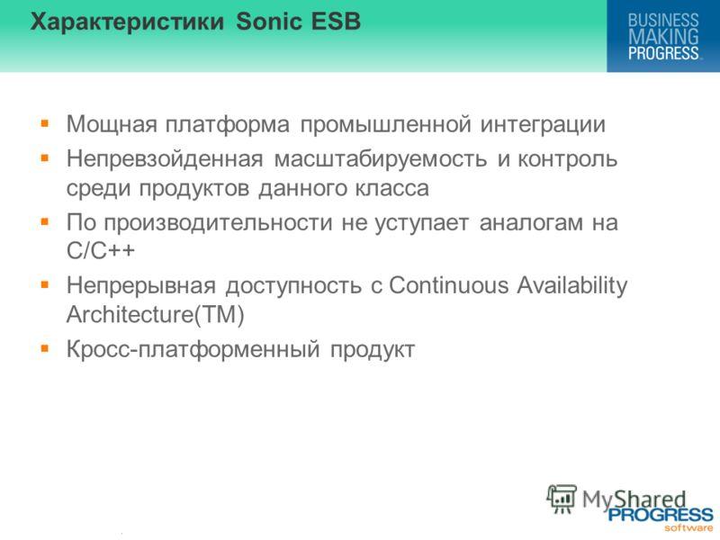 . Характеристики Sonic ESB Мощная платформа промышленной интеграции Непревзойденная масштабируемость и контроль среди продуктов данного класса По производительности не уступает аналогам на С/C++ Непрерывная доступность с Continuous Availability Archi
