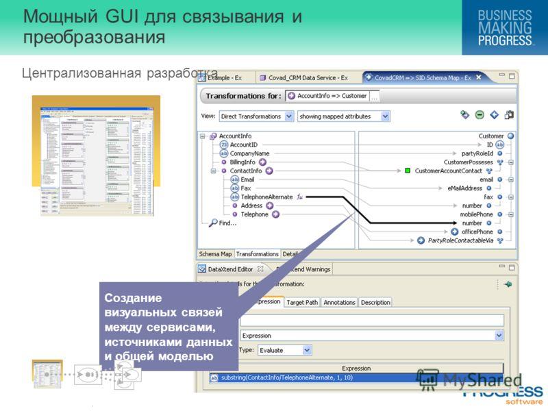 . Мощный GUI для связывания и преобразования Централизованная разработка Создание визуальных связей между сервисами, источниками данных и общей моделью