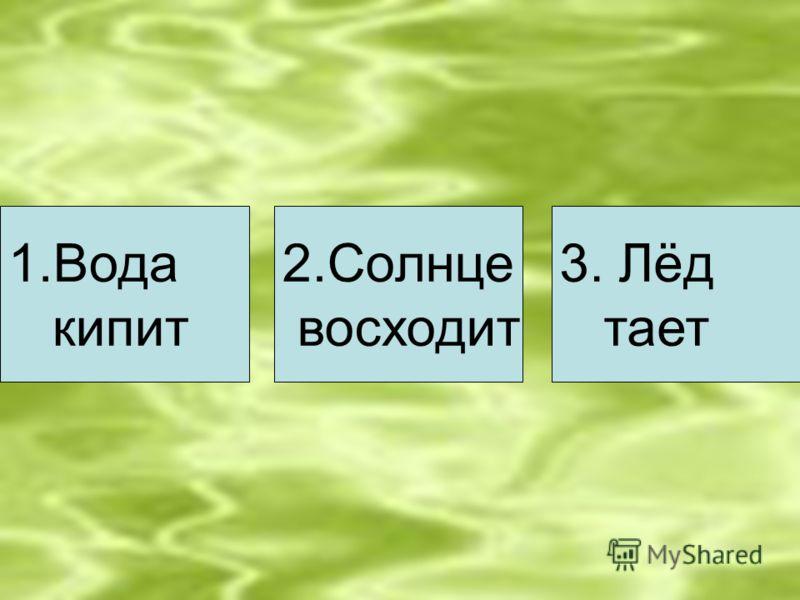 1.Вода кипит 2.Солнце восходит 3. Лёд тает
