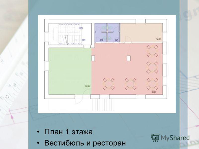 План 1 этажа Вестибюль и ресторан