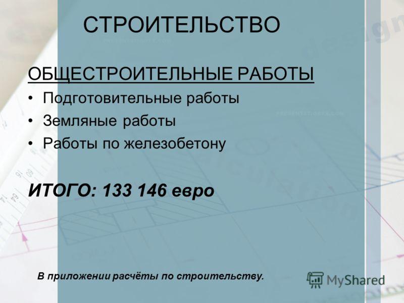СТРОИТЕЛЬСТВО ОБЩЕСТРОИТЕЛЬНЫЕ РАБОТЫ Подготовительные работы Земляные работы Работы по железобетону ИТОГО: 133 146 евро В приложении расчёты по строительству.