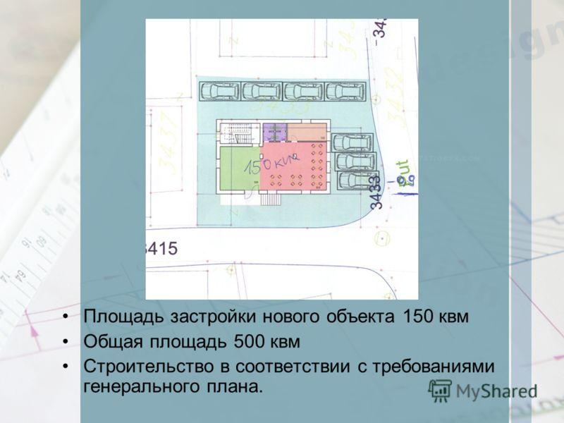 Площадь застройки нового объекта 150 квм Общая площадь 500 квм Строительство в соответствии с требованиями генерального плана.
