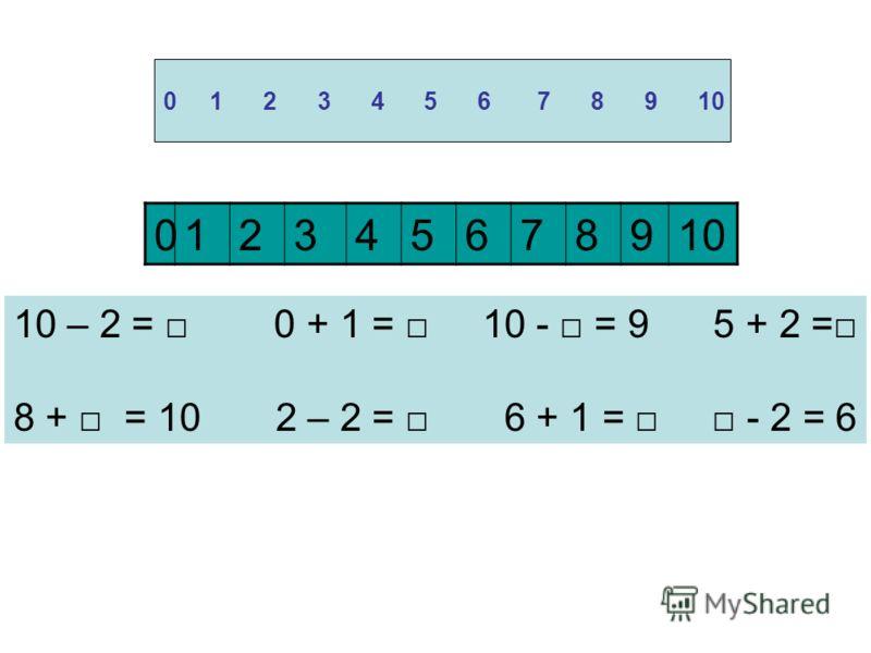 0 1 2 3 4 5 6 7 8 9 10 10 – 2 = 0 + 1 = 10 - = 9 5 + 2 = 8 + = 10 2 – 2 = 6 + 1 = - 2 = 6 012345678910