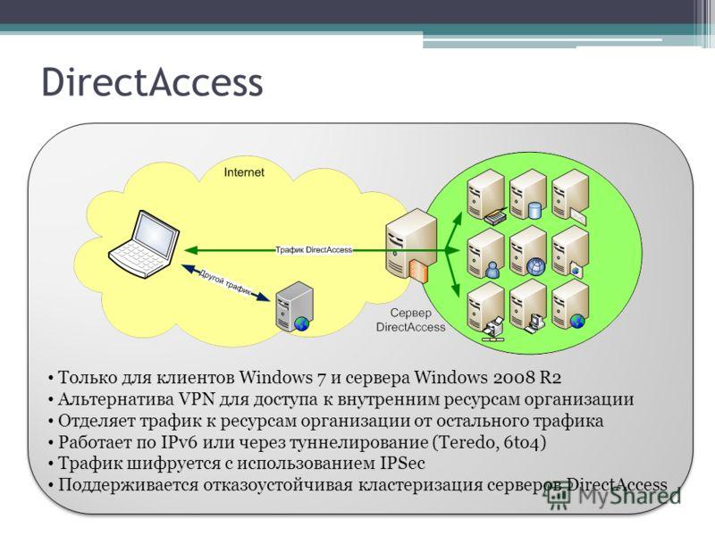 DirectAccess Только для клиентов Windows 7 и сервера Windows 2008 R2 Альтернатива VPN для доступа к внутренним ресурсам организации Отделяет трафик к ресурсам организации от остального трафика Работает по IPv6 или через туннелирование (Teredo, 6to4)