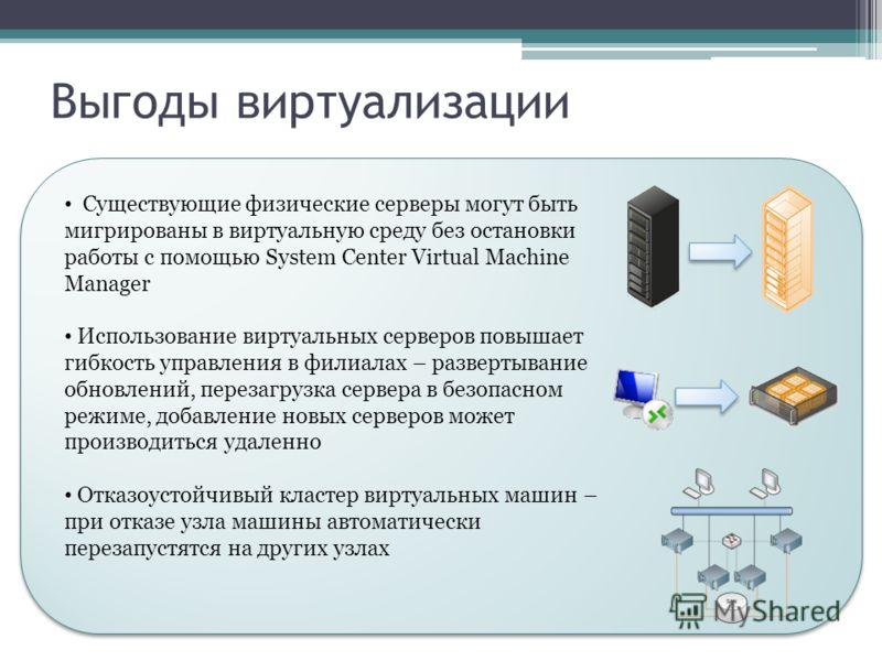 Выгоды виртуализации Существующие физические серверы могут быть мигрированы в виртуальную среду без остановки работы с помощью System Center Virtual Machine Manager Использование виртуальных серверов повышает гибкость управления в филиалах – разверты