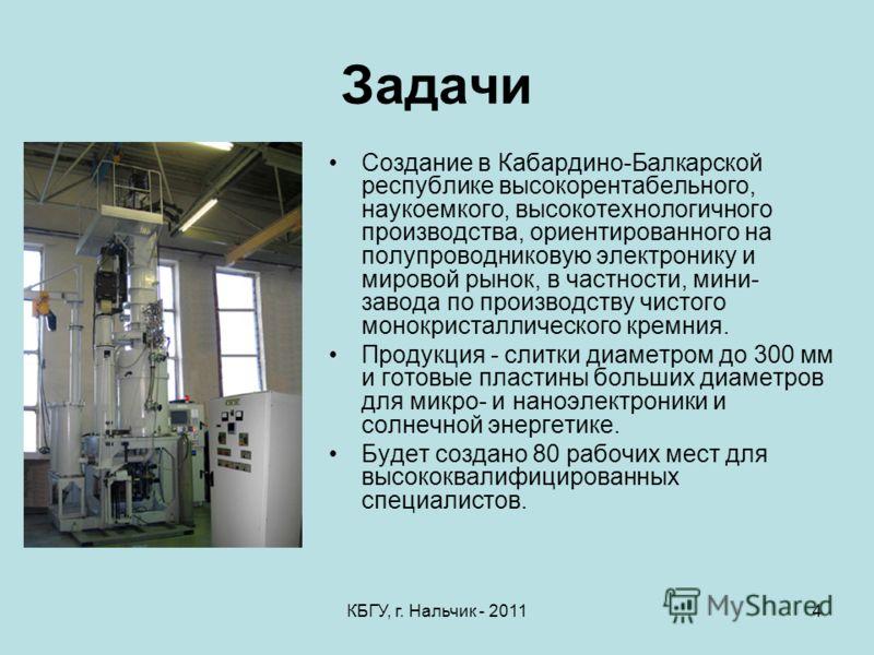 КБГУ, г. Нальчик - 20114 Задачи Создание в Кабардино-Балкарской республике высокорентабельного, наукоемкого, высокотехнологичного производства, ориентированного на полупроводниковую электронику и мировой рынок, в частности, мини- завода по производст
