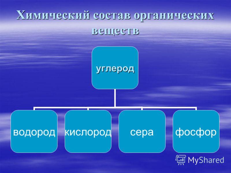 Химический состав органических веществ углерод водородкислородсерафосфор