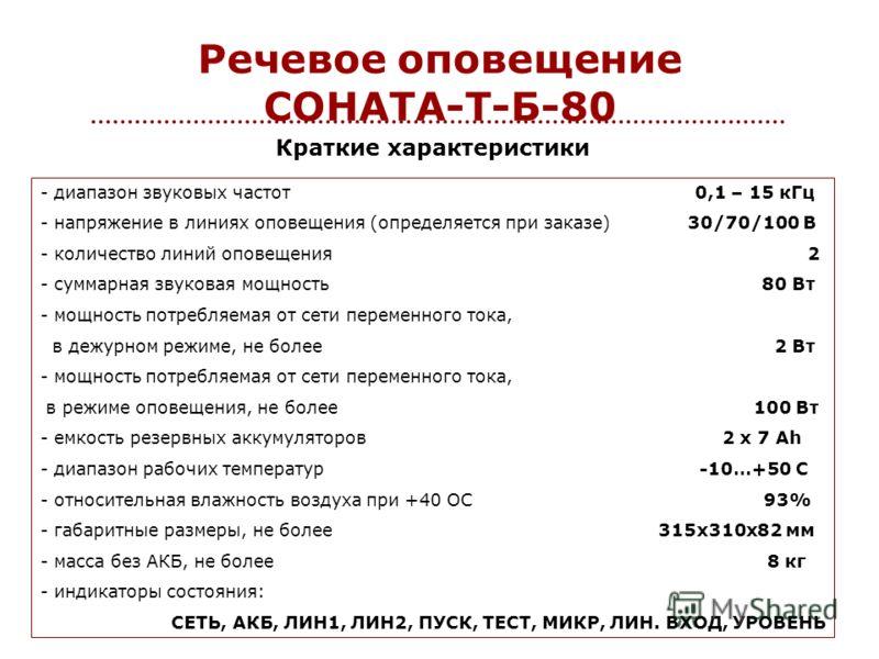 Речевое оповещение СОНАТА-Т-Б-80 - диапазон звуковых частот 0,1 – 15 кГц - напряжение в линиях оповещения (определяется при заказе) 30/70/100 В - количество линий оповещения 2 - суммарная звуковая мощность 80 Вт - мощность потребляемая от сети переме