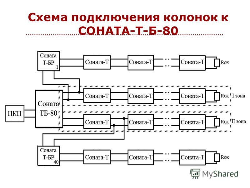 Схема подключения колонок к СОНАТА-Т-Б-80