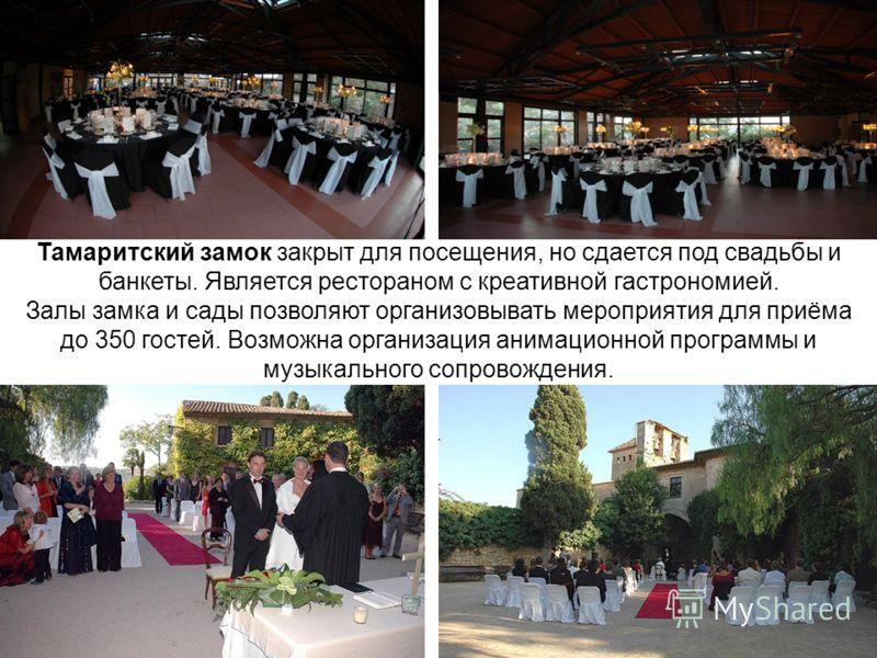 Тамаритский замок закрыт для посещения, но сдается под свадьбы и банкеты. Является рестораном с креативной гастрономией. Залы замка и сады позволяют организовывать мероприятия для приёма до 350 гостей. Возможна организация анимационной программы и му