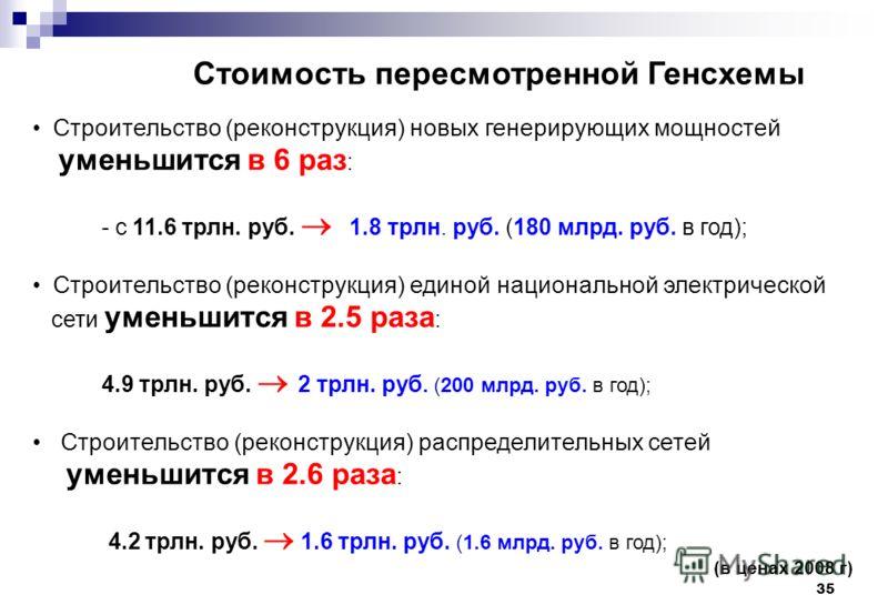 35 Стоимость пересмотренной Генсхемы Строительство (реконструкция) новых генерирующих мощностей уменьшится в 6 раз : - с 11.6 трлн. руб. 1.8 трлн. руб. (180 млрд. руб. в год); Строительство (реконструкция) единой национальной электрической сети умень