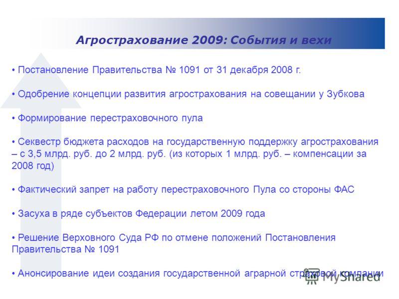 Постановление Правительства 1091 от 31 декабря 2008 г. Одобрение концепции развития агрострахования на совещании у Зубкова Формирование перестраховочного пула Секвестр бюджета расходов на государственную поддержку агрострахования – с 3,5 млрд. руб. д