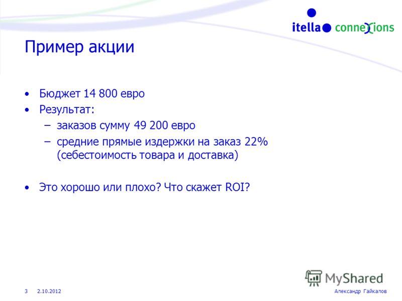 22.8.2012Александр Гайкалов 3 Пример акции Бюджет 14 800 евро Результат: –заказов сумму 49 200 евро –средние прямые издержки на заказ 22% (себестоимость товара и доставка) Это хорошо или плохо? Что скажет ROI?