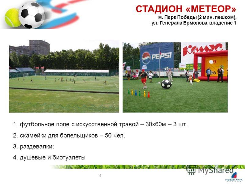 4 1. футбольное поле с искусственной травой – 30х60м – 3 шт. 2. скамейки для болельщиков – 50 чел. 3. раздевалки; 4. душевые и биотуалеты