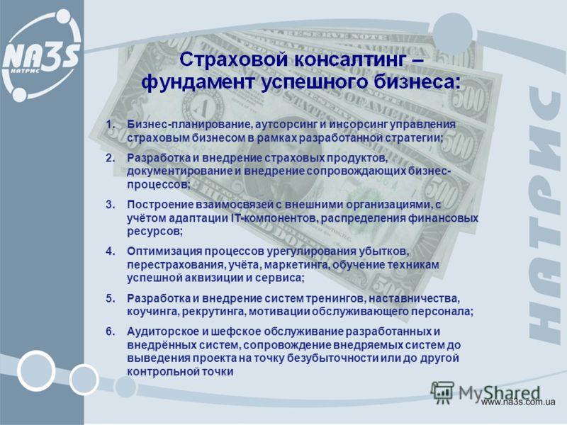 1.Бизнес-планирование, аутсорсинг и инсорсинг управления страховым бизнесом в рамках разработанной стратегии; 2.Разработка и внедрение страховых продуктов, документирование и внедрение сопровождающих бизнес- процессов; 3.Построение взаимосвязей с вне