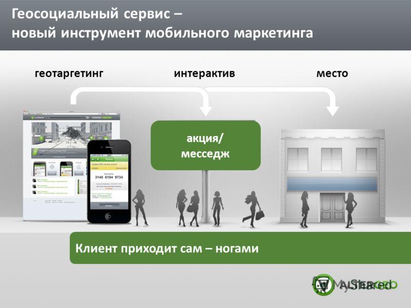Геосоциальный сервис – новый инструмент мобильного маркетинга Клиент приходит сам – ногами акция/ месседж интерактивгеотаргетингместо