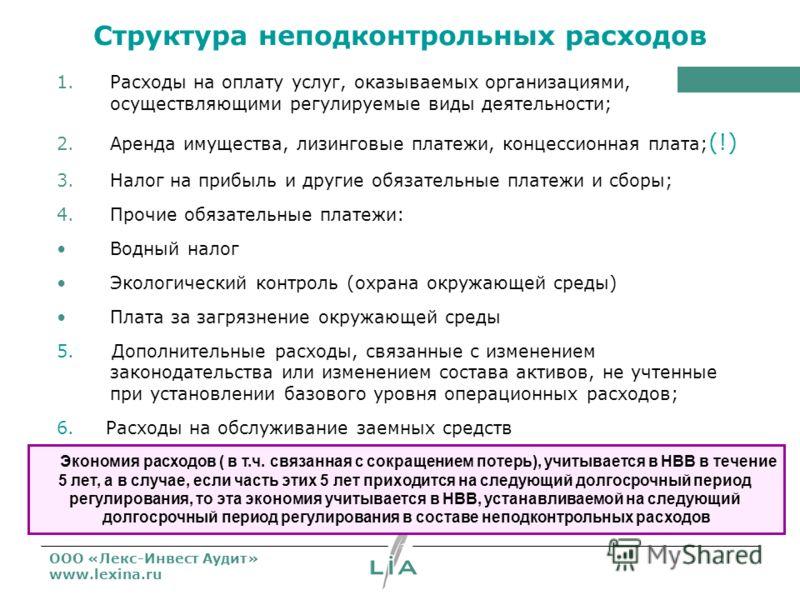 ООО «Лекс-Инвест Аудит» www.lexina.ru Структура неподконтрольных расходов 1.Расходы на оплату услуг, оказываемых организациями, осуществляющими регулируемые виды деятельности; 2.Аренда имущества, лизинговые платежи, концессионная плата; (!) 3.Налог н