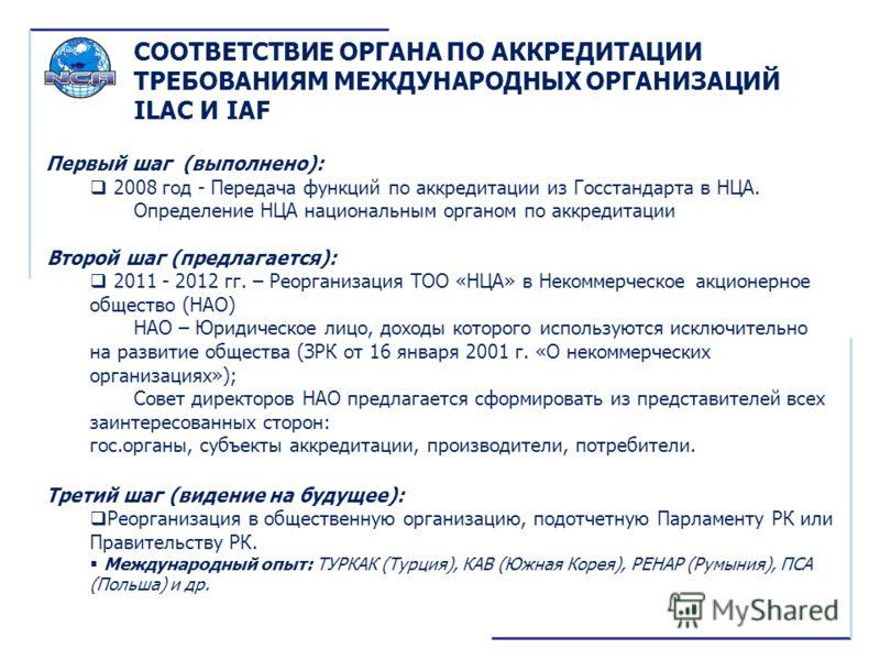 Первый шаг (выполнено): 2008 год - Передача функций по аккредитации из Госстандарта в НЦА. Определение НЦА национальным органом по аккредитации Второй шаг (предлагается): 2011 - 2012 гг. – Реорганизация ТОО «НЦА» в Некоммерческое акционерное общество
