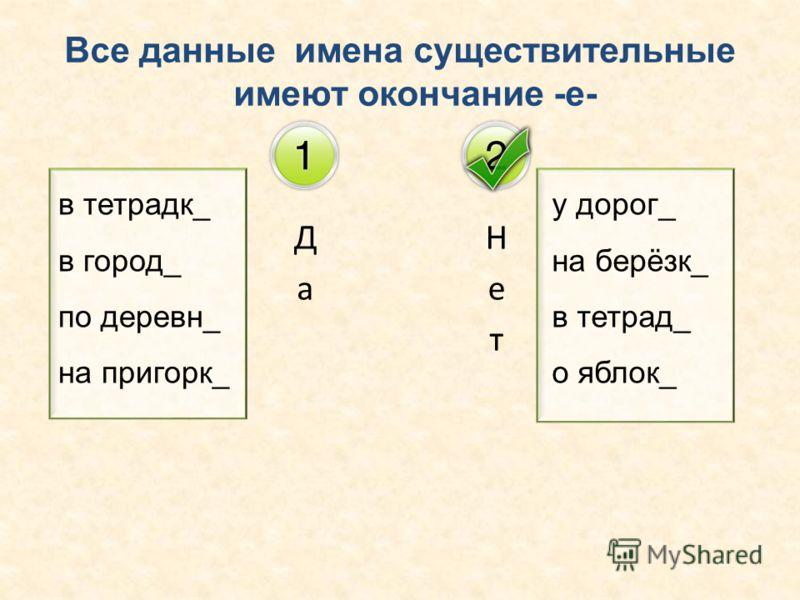 Все данные имена существительные имеют окончание -е- в тетрадк_ в город_ по деревн_ на пригорк_ у дорог_ на берёзк_ в тетрад_ о яблок_