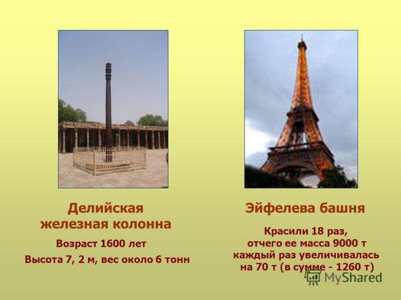 Делийская железная колонна Эйфелева башня Высота 7, 2 м, вес около 6 тонн Возраст 1600 лет Красили 18 раз, отчего ее масса 9000 т каждый раз увеличивалась на 70 т (в сумме - 1260 т)