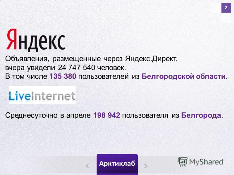 Арктиклаб 2 Объявления, размещенные через Яндекс.Директ, вчера увидели 24 747 540 человек. В том числе 135 380 пользователей из Белгородской области. Среднесуточно в апреле 198 942 пользователя из Белгорода.