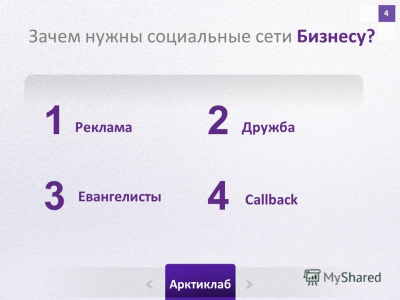 4 Зачем нужны социальные сети Бизнесу? Реклама 12 Дружба 3 Евангелисты 4 Callback Арктиклаб
