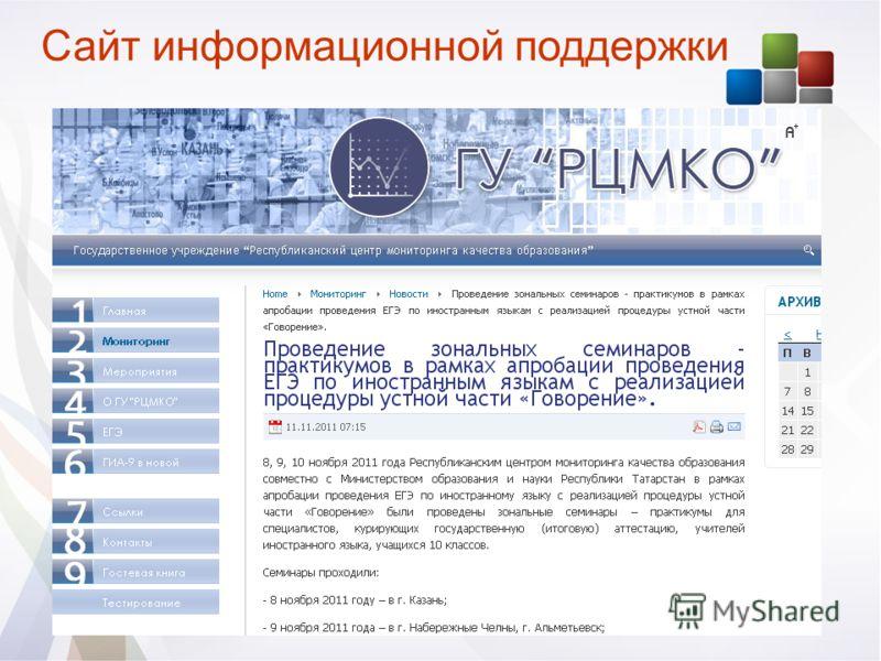 Сайт информационной поддержки
