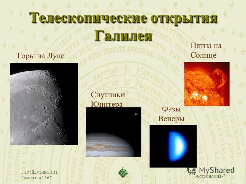 Астрономия-7 Габайдулина Л.И. Гимназия 1567 Телескопические открытия Галилея Горы на Луне Спутники Юпитера Пятна на Солнце Фазы Венеры